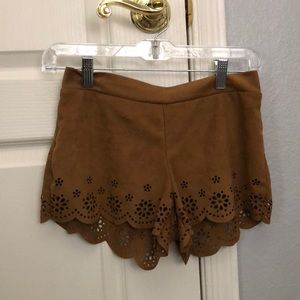 brown suede shorts with lace design